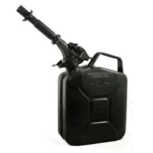 Wavian 3027 1 3 Gallon 5 Liter Steel Gasoline Fuel Jerry Can With Spout Black