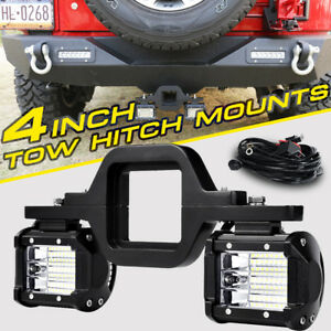 2x 4 Tri row Led Light Pod Tow Hitch Mount Bracket Trailer Reverse Backup Truck