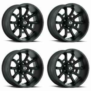Set 4 20 Vision 415 Bomb Black Wheels 20x9 5x5 10mm Jeep Gmc Chevy 5 Lug Truck
