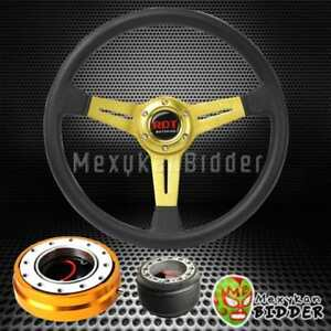 14 Gold Flat Steering Wheel Gold Quick Release Hub For Honda Civic 92 95