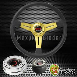 14 Gold Flat Steering Wheel Silver Quick Release Hub For Nissan Maxima 89 98