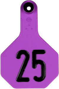 3 Star Medium Cattle Id Ear Tags Purple Numbered 1 25