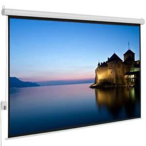 100 4 3 Electric Remote Control Projection Screen Hd Movie Theater Matte White