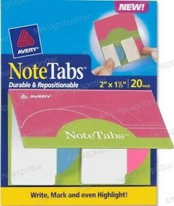Avery Notetabs Books 2 X 1 5 Note Tabs Round Edge Neon Magenta Pink Blue 20