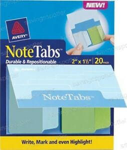 Avery Notetabs Books 2 X 1 5 Note Tabs Cool Blue Green 20 Pk
