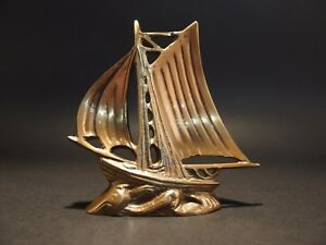 5 Vintage Antique Style Brass Nautical Sloop Ship Boat Paperweight Desk