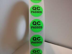 Qc Passed Quality Control Small 3 4 Circle Fluor Green Sticker Label 250 rl