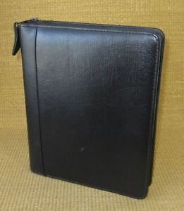 Classic 1 5 Rings Black Leather Franklin Covey quest Zip Planner binder Usa