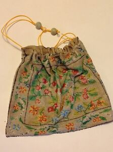 Antique Glass Beads Hand Embroidered Bag Very Old Victorian Oroginal Purse 1900