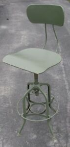 Vintage Toledo Drafting Stool Army Od Green