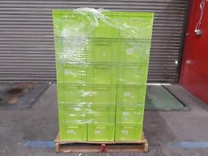 Pallet Of 50 Stackable Green Industrial Plastic Bin Containers 15x12x9 Wholesale