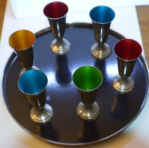 Reed Barton Sterling Silver Enamel Cordial Cup Set Of 6 W Serving Tray