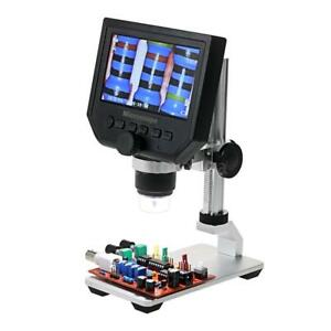 Lcd 1 600x Desktop 8 Led Lab Usb Digital Microscope 3 6mp Camera Video Us Stock