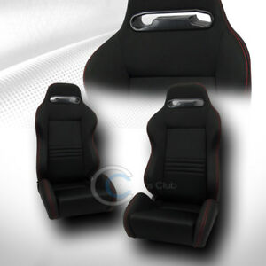 2x Universal T r Blk Cloth Red Stitch Reclinable Racing Bucket Seats sliders C01