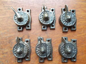 Six Antique Round Fancy Victorian Window Sash Locks Sets The Champion C1885