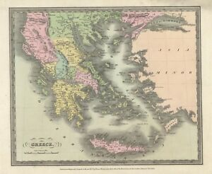 1836 David Burr Map Greece