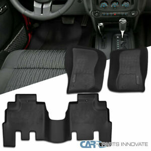 For 14 18 Jeep Wrangler Jk Replacement Black Rubber Front Rear Floor Mats
