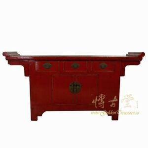 Chinese Antique Red Lacquered Altar Cabinet Sideboard Buffet Table 18lp43