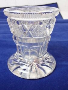 Antique Cut Glass Bud Vase Toothpick Holder Shrimp Cocktail Glass Clear Stars X