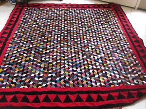 Vtg Hand Stitched Falling Blocks Silk Velvet Crazy Quilt 92 X 95 Full Queen