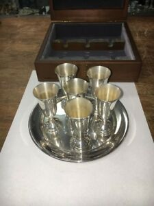 Aperitif Cordial Cup Set Sterling Silver Tuttle 1972 In Fitted Box