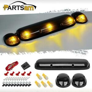 3x Smoke Cab Roof Top Marker Lights 5xt10 5730 Amber Led For 02 07 Chevrolet Gmc