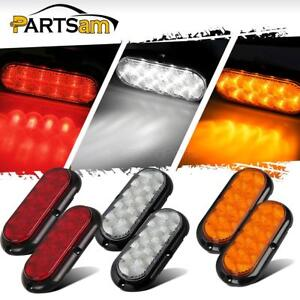 2xred 2xamber 2xwhite 6 Oval 10 Led Stop turn tail Reverse Light W flange Mount