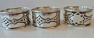 3 English 1870 Sterling Napkin Rings Diamond Shaped Patterns Rm Eh Makers
