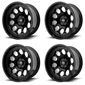 Set 4 17 Moto Metal Mo990 Rotary Black Wheels 17x9 5x5 12mm Lifted Jeep 5 Lug
