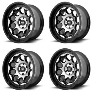 Set 4 17 Moto Metal Mo990 Rotary Black Machined Wheels 17x9 6x5 5 12mm Lifted