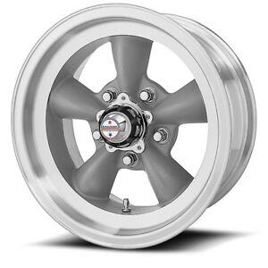 14 Torq Thrust D Grey Machined Lip Vintage Wheel 14x6 5x4 5 2mm 5 Lug Classic