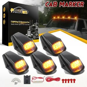 5pc Black Lens yellow Led Cab Marker Roof Clearance Lights For 80 97 Ford W wire