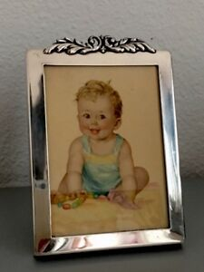1940s Photo Frame Sterling Silver With 1948 Copr C Moss Baby Litho
