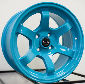 15x8 Rota Grid Concave 4x100 20 Teal Blue Wheels New Set