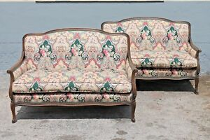 Pair Spectacular 1940 S Carved Walnut Louis Xv Style Upholstered Settees Sofas