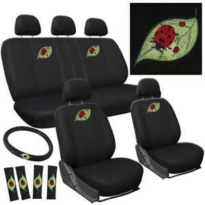 Car Seat Covers For Ford Mustang Beetle Ladybug W Steering Wheel Head Rest
