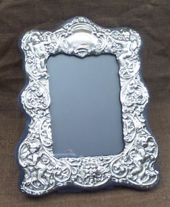 Vtg Antique Lion Sterling Picture Frame Repousse Cherubs For 4 5 X 6 Photo
