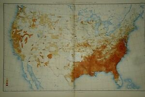 Vintage 1890 United States Map Proportion Of Colored To The Aggregate