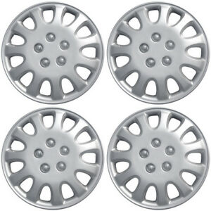 4 Pc Of 14 Inch Silver Hub Caps Full Lug Skin Rim Cover For Oem Steel Wheel