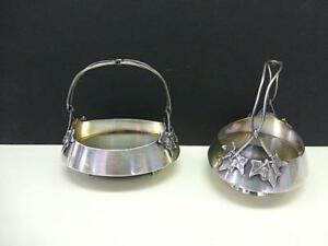 2 Gorham Sterling Silver Basket Bowl Sugar Candy Ivy Leaf Handle Art Deco