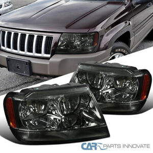 For 99 04 Jeep Grand Cherokee Smoke Headlights Tinted Head Corner Signal Lamps