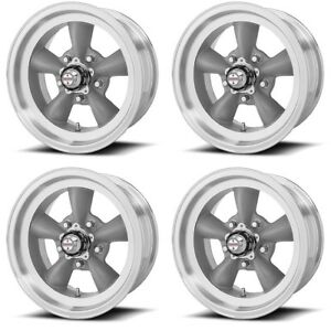 Set 4 15 Torq Thrust D Vn105d Grey Machined Lip Classic Wheels 15x6 15x7 5x4 5