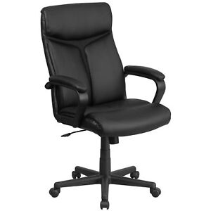 Designer Executive Black Leather Adjustable Swivel Office Chair With Headrest