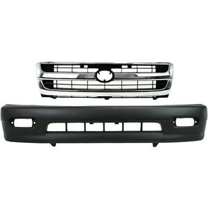 Bumper Cover Kit For 98 2000 Toyota Tacoma Front 2pc Textured With Grille