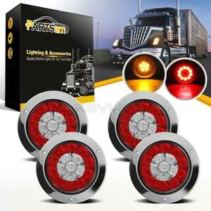 4pcs 4 Inch Round 16 Led Truck Trailer Lorry Brake Stop turn Signal tail Lights