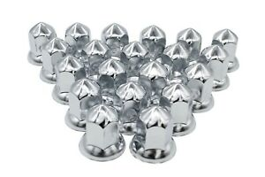 33mm Chrome Lug Nut Covers Push On Flanged Cone Style Steel 20 Pack
