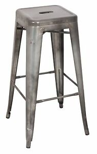 Industrial Bistro Tolix Style Galvanized Steel Restaurant Commercial Bar Stool