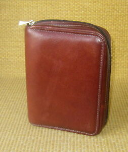 Pocket 1 Rings Brown Fine Leather Franklin Covey Planner binder Clutch 110