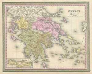 1849 Mitchell Map Of Greece