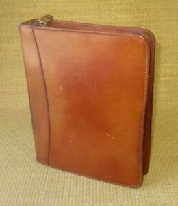 Classic 1 5 Rings Brown Leather Franklin Covey quest Zip Planner binder Usa
